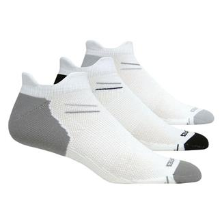 Brooks Versatile Double Tab Socks (3 pack) White with Black / Gray / Light Gray Accents
