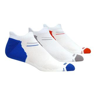 Brooks Versatile Double Tab Socks (3 pack) White with Blue / Gray / Red Accents