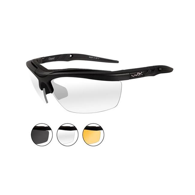 Wiley X Guard Matte Black Smoke Gray / Clear / Light Rust 3 Lenses