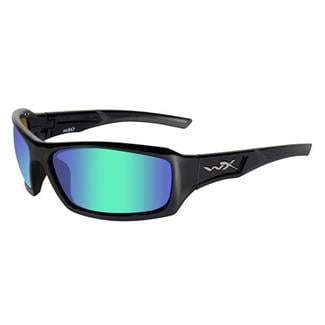 Wiley X Echo Gloss Black Polarized Emerald Mirror (Amber Tint)
