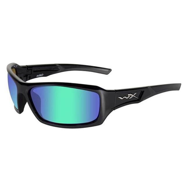 Wiley X Echo Polarized Emerald Mirror (Amber Tint) Gloss Black