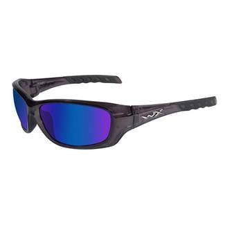 Wiley X Gravity Black Crystal Polarized Blue Mirror (Green)
