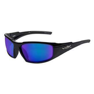 Wiley X Rush Gloss Black Polarized Blue Mirror (Green)