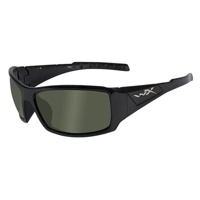 Wiley X Twisted Gloss Black Polarized Smoke Green