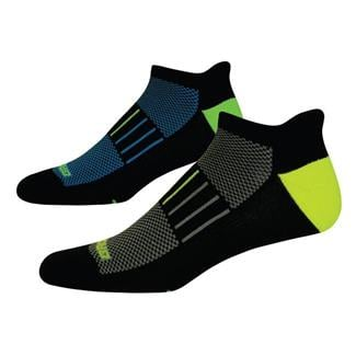 Brooks Essential Low Cut Tab Lite Socks (2 pack) Black with Yellow / Green Accents