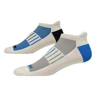 Brooks Essential Low Cut Tab Lite Socks (2 pack) White with Blue / Black Accents