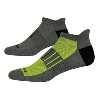 Brooks Essential Low Cut Tab Lite Socks (2 pack) Gray with Yellow / Black Accents