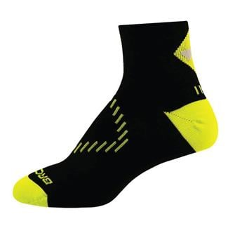 Brooks NightLife Quarter Socks Black / Neon Yellow