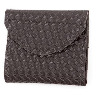 Gould & Goodrich Leather Two-Pocket Glove Case Basket Weave Black
