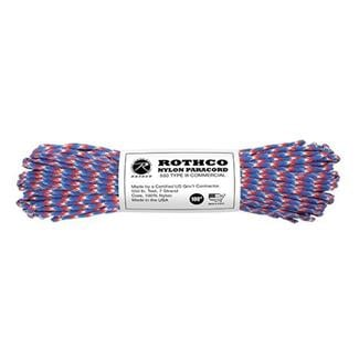 Rothco Nylon 550 LB Type III Commercial Paracord - 100ft Red / White / Blue Camo