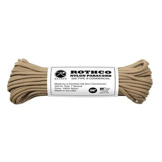 Rothco Nylon 550 LB Type III Commercial Paracord - 100ft Coyote Brown