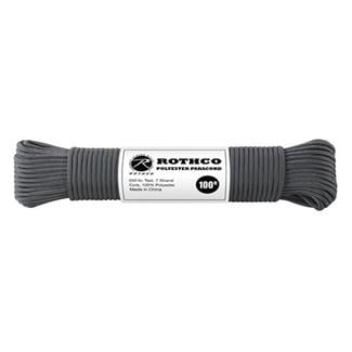Rothco Polyester 550 LB Commercial Paracord - 100ft Charcoal Grey
