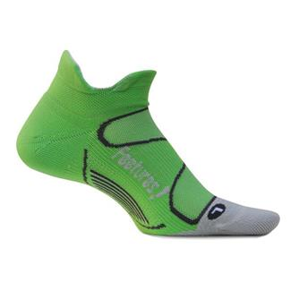 Feetures Elite Light Cushion No Show Tab Socks Electric Green / Silver