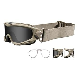 Wiley X Spear Tan 2 Lenses w/ RX Insert Smoke Gray / Clear