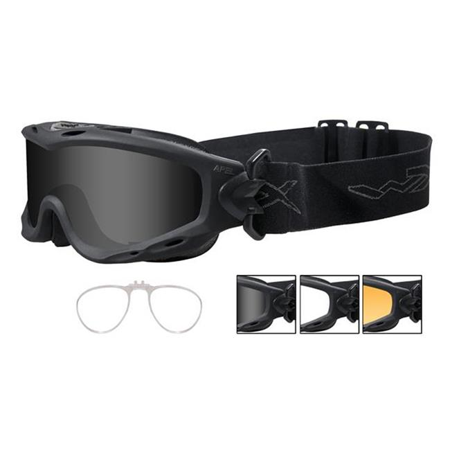 Wiley X Spear Smoke Gray / Clear / Light Rust 3 Lenses w/ RX Insert Matte Black