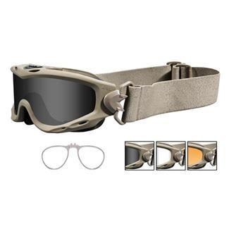 Wiley X Spear Tan Smoke Gray / Clear / Light Rust 3 Lenses w/ RX Insert