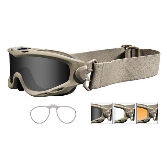 Wiley X Spear Tan 3 Lenses w/ RX Insert Smoke Gray / Clear / Light Rust