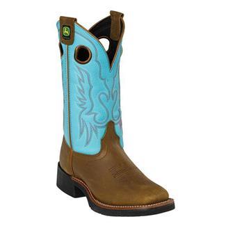 John Deere Broad Toe Western Oakwood / Turquoise