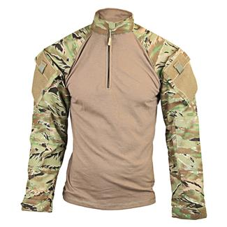 Tru-Spec Nylon / Cotton 1/4 Zip Tactical Response Combat Shirt All Terrain Tiger Stripe / Sand