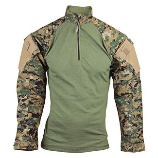 Tru-Spec Nylon / Cotton 1/4 Zip Tactical Response Combat Shirt Woodland Digital / Olive Drab