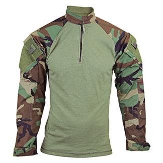 TRU-SPEC Nylon / Cotton 1/4 Zip Tactical Response Combat Shirt Woodland / Olive Drab