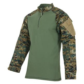 Tru-Spec Poly / Cotton 1/4 Zip Tactical Response Combat Shirt Woodland Digital / Olive Drab