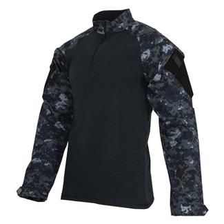 Tru-Spec Poly / Cotton 1/4 Zip Tactical Response Combat Shirt Midnight Digital / Navy