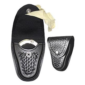 Gould & Goodrich Leather Handcuff Case / Glove Pouch Basket Weave Black