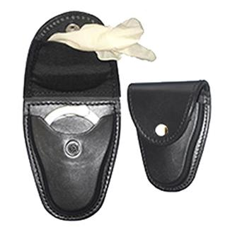 Gould & Goodrich Leather Handcuff Case / Glove Pouch w/ Brass Hardware Black Plain