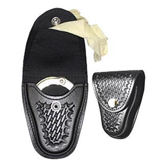 Gould & Goodrich Leather Handcuff Case / Glove Pouch w/ Brass Hardware Basket Weave Black