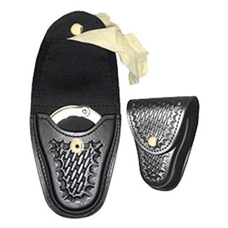 Gould & Goodrich K-Force Handcuff Case / Glove Pouch w/ Brass Hardware Black Basket Weave