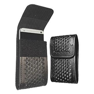 Gould & Goodrich Leather Smart Phone Holder Basket Weave Black