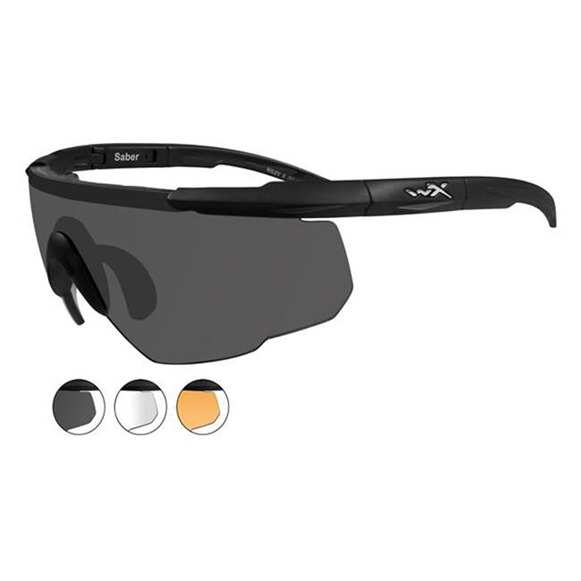 Wiley X Saber Advanced Matte Black Smoke Gray / Clear / Light Rust 3 Lenses