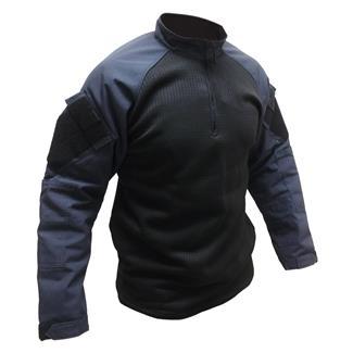 TRU-SPEC Poly / Spandex Ripstop 1/4 Zip Winter Combat Shirts Navy / Black