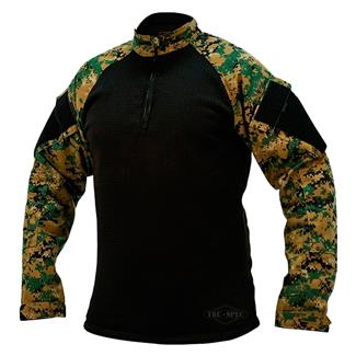 Tru-Spec Poly / Spandex Ripstop 1/4 Zip Winter Combat Shirts Woodland Digital / Black