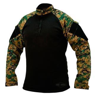 Tru-Spec Poly / Spandex Ripstop 1/4 Zip Winter Combat Shirts Woodland Digital / Black
