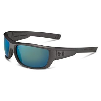 Under Armour Rumble Storm Satin Carbon (frame) - Gray Storm Polarized w/ Green Mirror (lens)