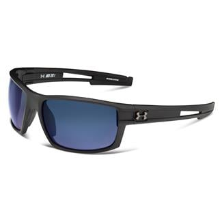 Under Armour Captain Storm Satin Black Gray Storm Polarized w/ Blue Mirror
