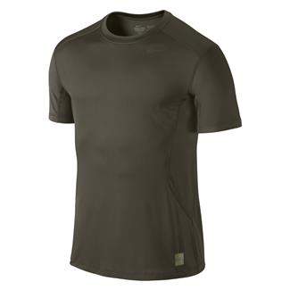 NIKE Pro Combat Core Fitted SS Shirt Cargo Khaki