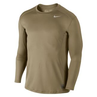 NIKE Long Sleeve Pro Combat Core Fitted Shirt Grain
