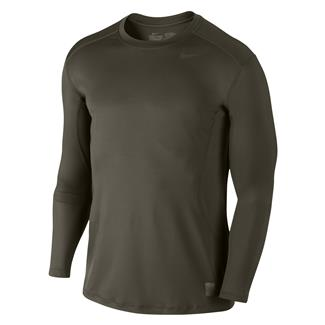 NIKE Long Sleeve Pro Combat Core Fitted Shirt Cargo