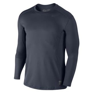 NIKE Long Sleeve Pro Combat Core Fitted Shirt Navy