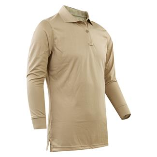 24-7 Series Long Sleeve Performance Polo Silver Tan