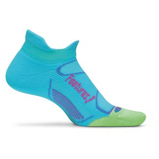 Feetures Elite Light Cushion No Show Tab Socks Sky Blue / Melon