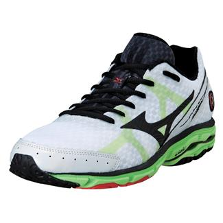 Mizuno Wave Rider 17 White / Green Flash / Tangerine Tango