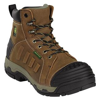 "John Deere 6"" WCT Lace-UP Anti-Microbial AT WP Tan Soggy"