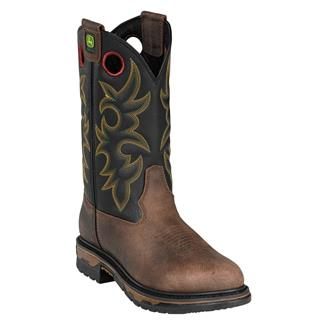 """John Deere 11"""" Work Western Pull-On Bison Leather Brown"""