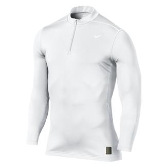 NIKE Hyperwarm Dri-Fit Max Fitted SF Mock 1/4 Zip White