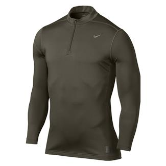NIKE Hyperwarm Dri-Fit Max Fitted SF Mock 1/4 Zip Cargo Khaki