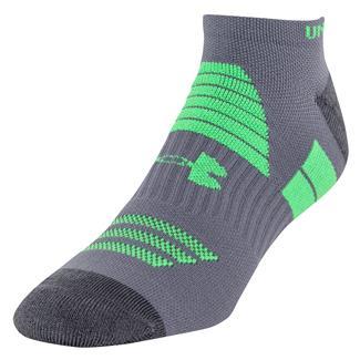 Under Armour Armourlite No Show Socks Graphite / Green Energy